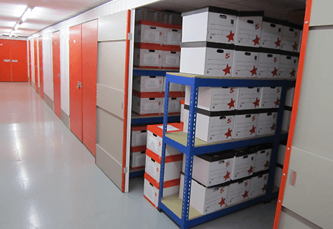 Inside a document archive self storage unit