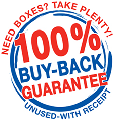 Removal boxes and packaging materials buy back guarantee